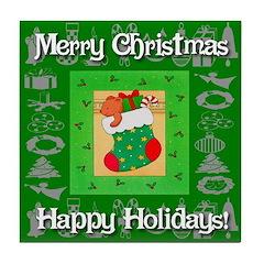 Teddy Bear Christmas Stocking Tile Coaster