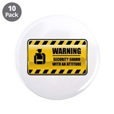 "Warning Security Guard 3.5"" Button (10 pack)"