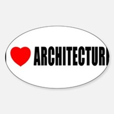 I Love Architecture Oval Decal