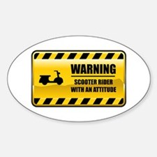 Warning Scooter Rider Oval Decal