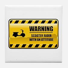 Warning Scooter Rider Tile Coaster