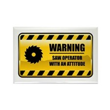 Warning Saw Operator Rectangle Magnet