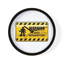 Warning Robot Wall Clock