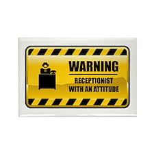 Warning Receptionist Rectangle Magnet