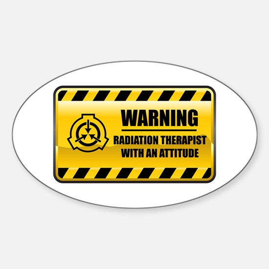 Warning Radiation Therapist Oval Decal