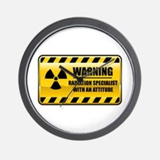 Warning Radiation Specialist Wall Clock