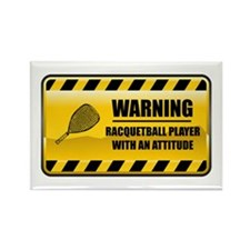 Warning Racquetball Player Rectangle Magnet