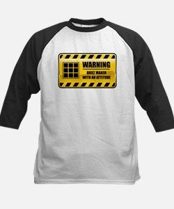 Warning Quilt Maker Kids Baseball Jersey
