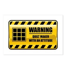 Warning Quilt Maker Postcards (Package of 8)