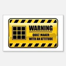 Warning Quilt Maker Rectangle Stickers