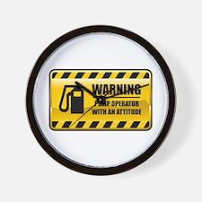 Warning Pump Operator Wall Clock