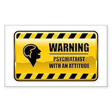Warning Psychiatrist Rectangle Decal