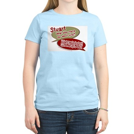 Stuart - What does mommy say. Womens Pink T-Shirt