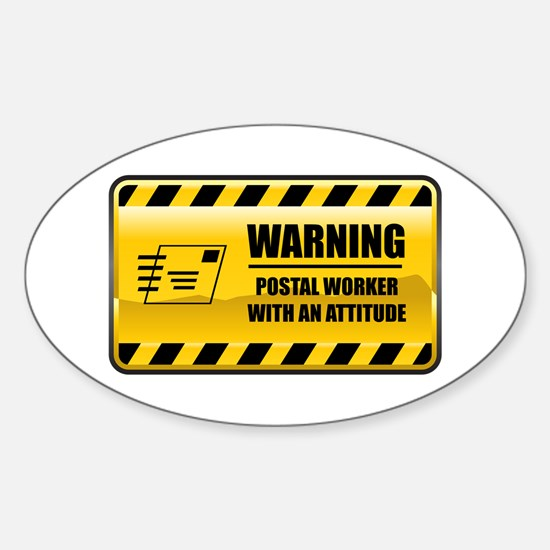 Warning Postal Worker Oval Decal
