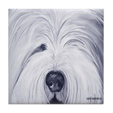 Old English Sheepdog face tile coaster