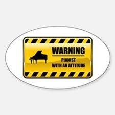 Warning Pianist Oval Decal