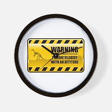 Warning Paleontologist Wall Clock