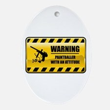 Warning Paintballer Oval Ornament