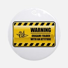Warning Origami Folder Ornament (Round)