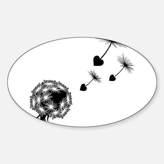 Dandelion Love Oval Decal