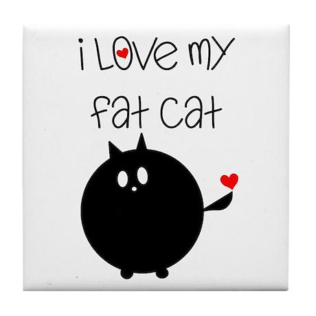I Love My Fat Cat Tile Coaster