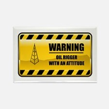 Warning Oil Rigger Rectangle Magnet