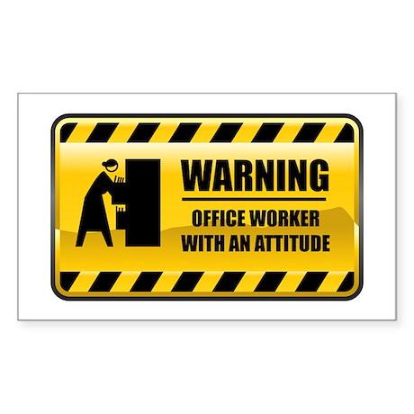 Warning Officer Worker Rectangle Sticker