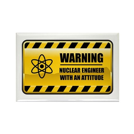 Warning Nuclear Engineer Rectangle Magnet (100 pac