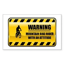 Warning Mountain Bike Rider Rectangle Decal