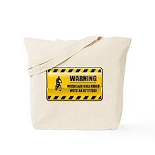Warning Mountain Bike Rider Tote Bag