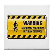 Warning Mountain Bike Rider Tile Coaster