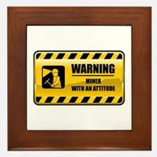 Warning Miner Framed Tile