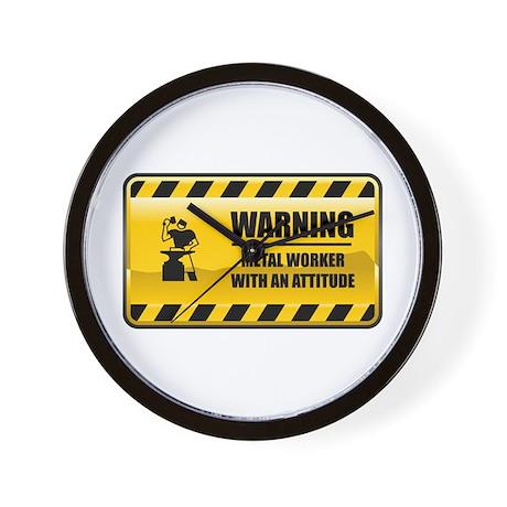 Warning Metal Worker Wall Clock