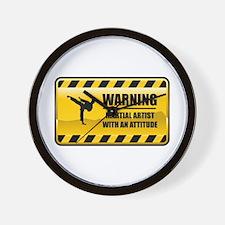 Warning Martial Artist Wall Clock