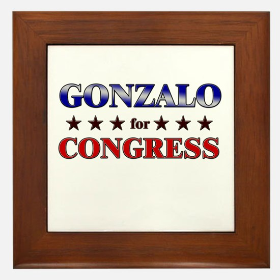 GONZALO for congress Framed Tile