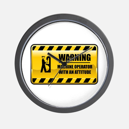 Warning Machine Operator Wall Clock