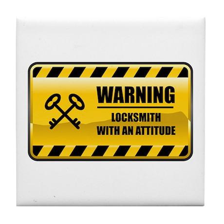 Warning Locksmith Tile Coaster