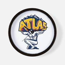 Atlas Lifting Mountain Kneeling Woodcut Wall Clock