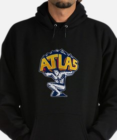 Atlas Lifting Mountain Kneeling Woodcut Hoodie