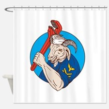 Navy Goat Holding Pipe Wrench Circle Retro Shower