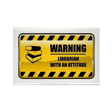 Warning Librarian Rectangle Magnet (10 pack)