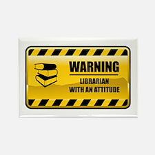 Warning Librarian Rectangle Magnet
