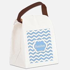 Baby Blue Chevron Canvas Lunch Bag
