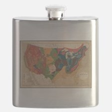 Vintage United States Geological Map (1872) Flask