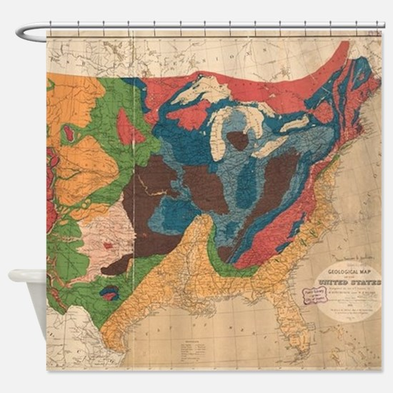 Vintage United States Geological Ma Shower Curtain