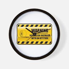 Warning Insulation Installer Wall Clock