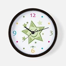 Green Twinkle Star Wall Clock