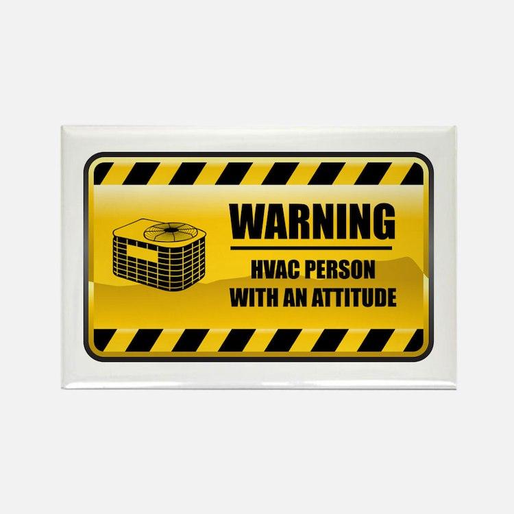 Warning HVAC Person Rectangle Magnet