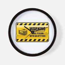 Warning HVAC Person Wall Clock