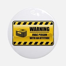 Warning HVAC Person Ornament (Round)